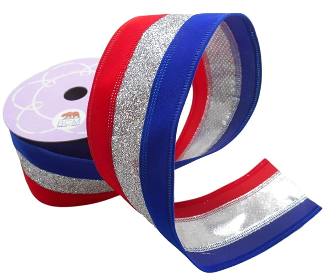Patriotic Striped Ribbon with Velvet Red and Blue with Glittering Silver Ribbon - Wired Edge Ribbon 2 1/2