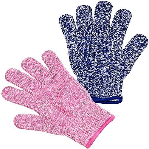 Kid Size Cut Resistant Gloves, Safety Gloves for Children Hand Protection, Maximum Child Protection for Cooking, Oyster Shucking and Garden (2 Pair)