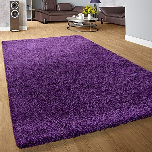 Paco Home Shaggy Hochflor Langflor Teppich Sky Einfarbig in Lila, Grösse:70x140 cm