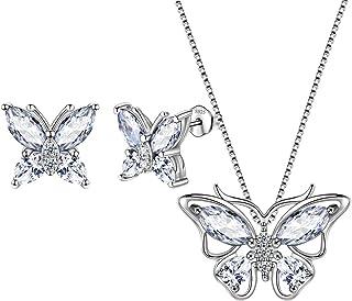 Aurora Tears Butterfly Jewelry Women 925 Sterling Silver Butterflies Necklace/Earrings/Rings Wedding Gift