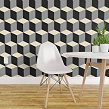 Spoonflower Pre-Pasted Removable Wallpaper, Tessellation Color Pattern Cubes Steps Block Geometric Print, Water-Activated Wallpaper, 24in x 36in Roll