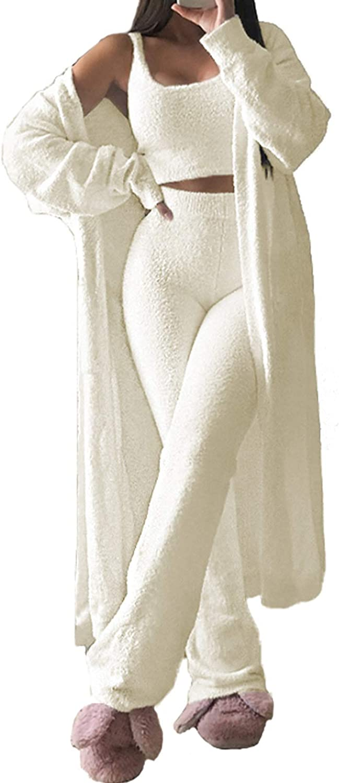 TOLENY Women's 3 Quality inspection Piece Fleece Pajama Crop Vest Set Fuzzy Max 41% OFF Cardiga