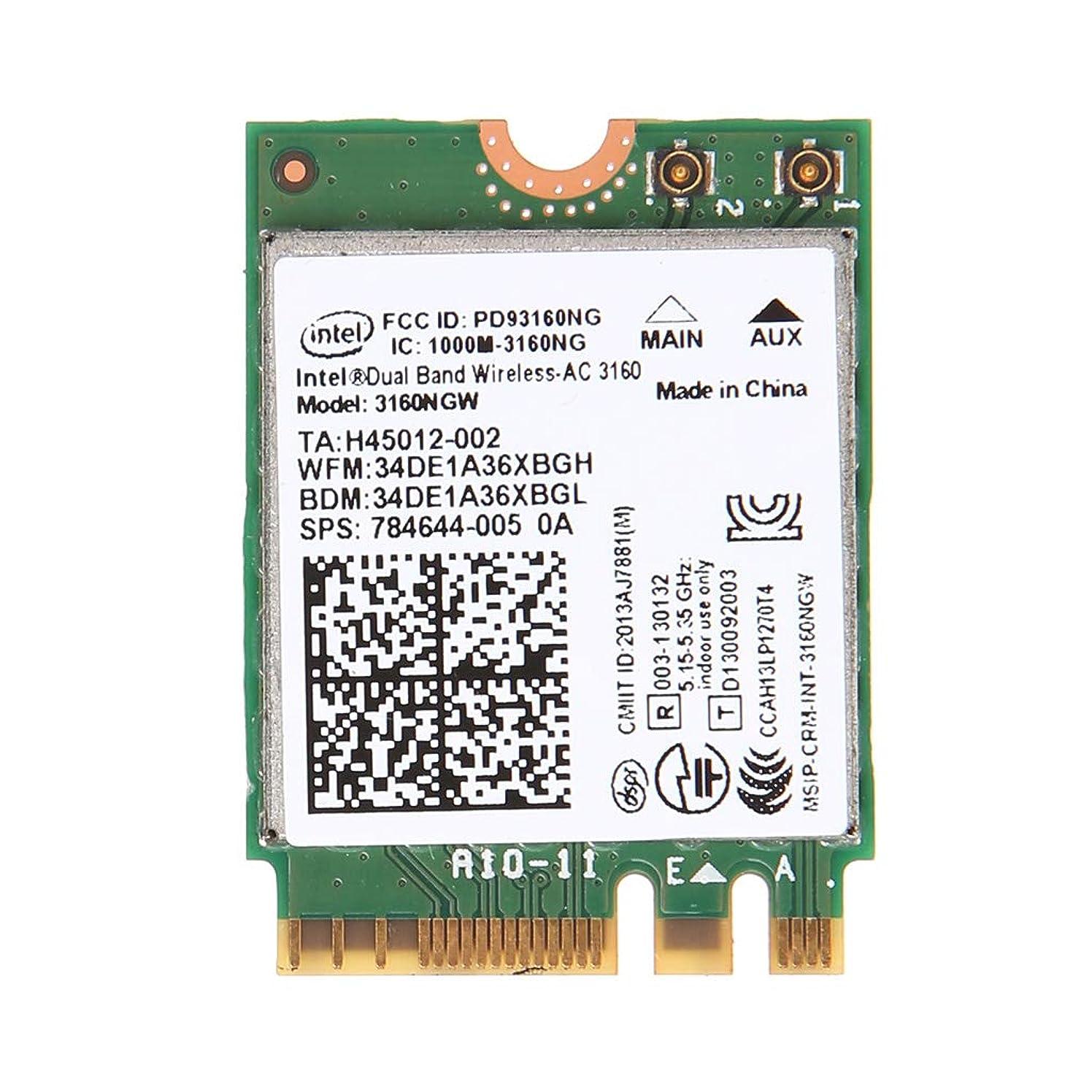 Baoyouls ネットワークカードワイヤレスネットワークカードIntel Wireless-AC 3160NGWデュアルバンド2.4 / 5.8 GHz Bluetooth 4.0 NGFF Wifiカード