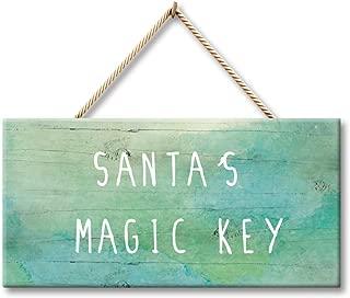 Yilooom Christmas Wood Sign - Santa Magic Key Sign - Santa Sign - Christmas Decoration - Christmas Decoration - Santa's Magic Key Sign 6x11 Inches