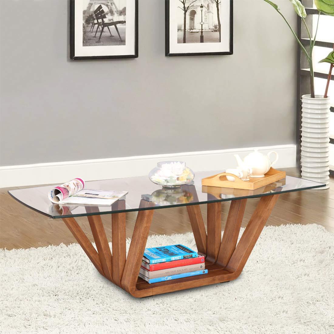 HomeTown Hobart Engineered Wood Glass Top Center Table in Brown ...