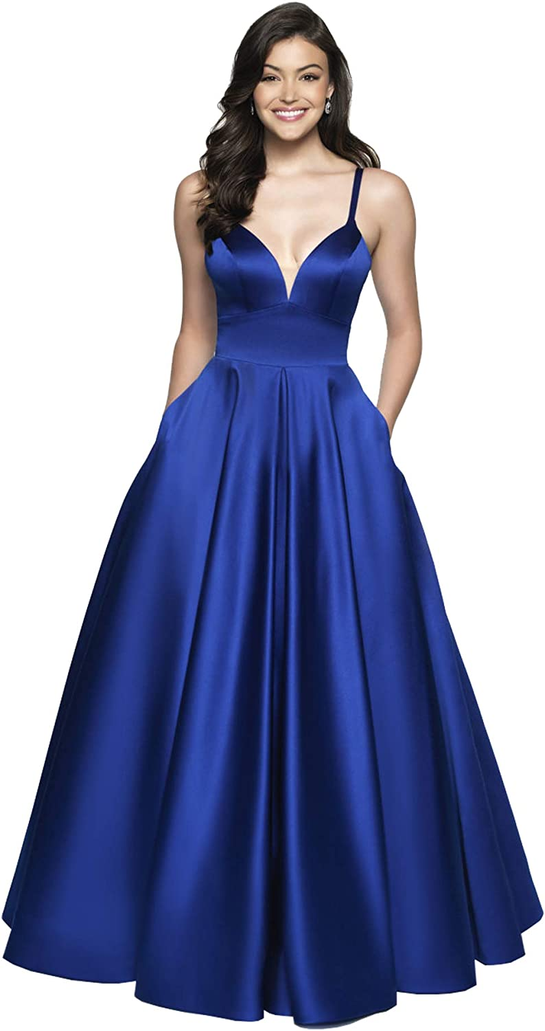 Beauty Bridal Women's Long Spaghetti Straps Satin Ball Gown Prom Dresses with Pockets Z34