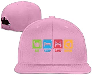 ZYXcustom Eat Sleep Game Repeat Snapback Unisex Adjustable Flat Bill Visor Baseball Hat