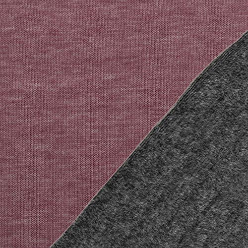 Die Stofftante Alpenfleece Kuschelsweat Alfons Altrosa-grau 50x145 cm Meterware