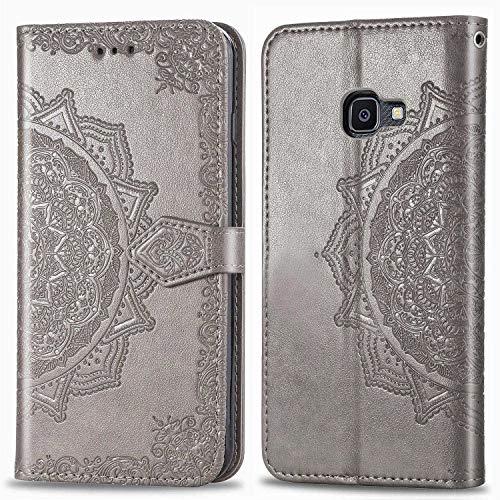 Bear Village Hülle für Galaxy Xcover 4, PU Lederhülle Handyhülle für Samsung Galaxy Xcover 4, Brieftasche Kratzfestes Magnet Handytasche mit Kartenfach, Grau