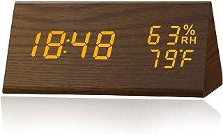 MICARSKY Digital Alarm Clock Wooden Temperature (Brown)