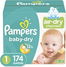 Diapers Size 1/Newborn, Pampers Baby Dry Disposable Baby Diapers, Giant Pack, 174 Count