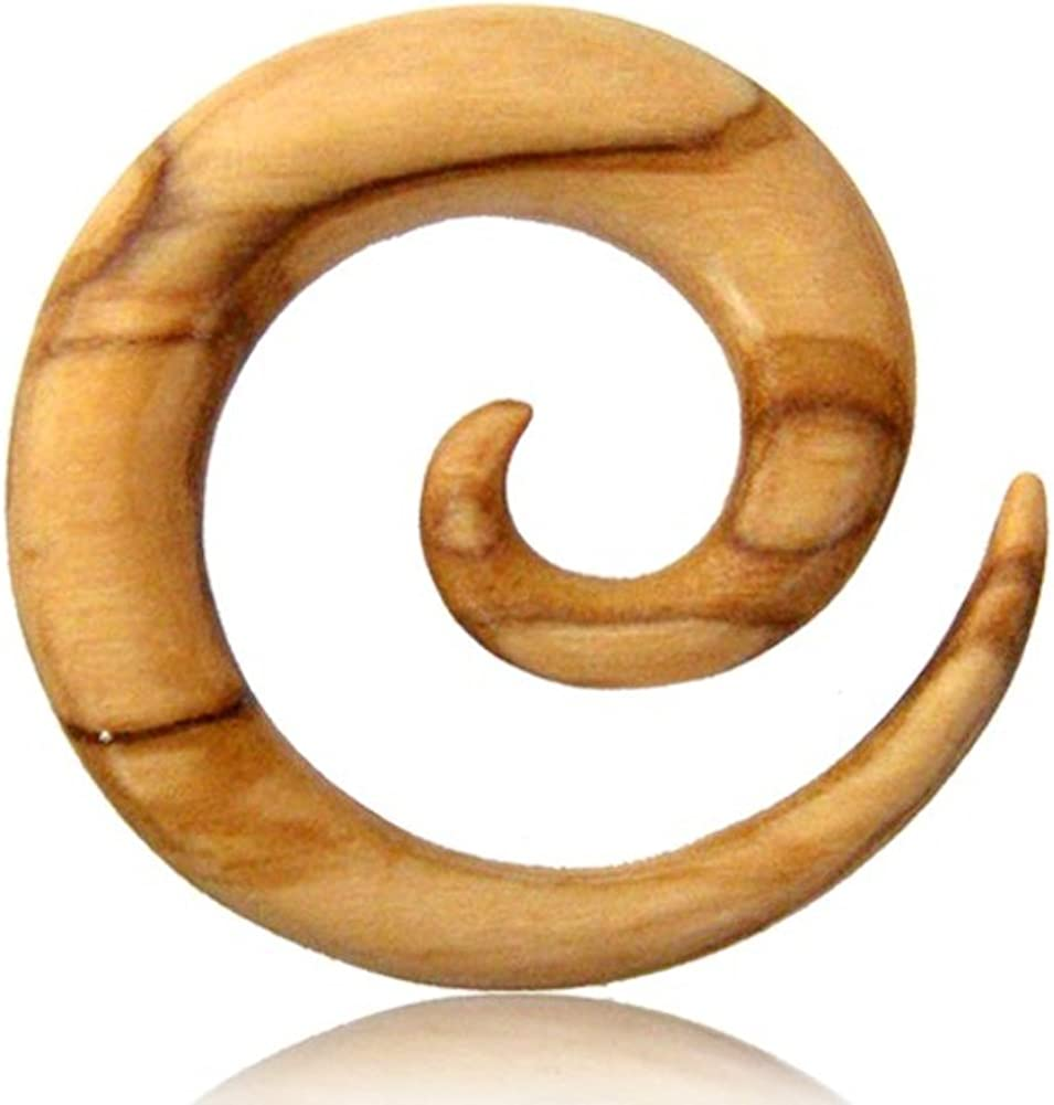 Earth Accessories Spiral Taper Earrings - Gauges for Ears with Organic Wood - Ear Stretching Gauges (Guages or Gages) - Set of Plugs Sold as Pair