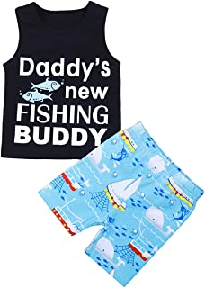 Baby Boys Summer Clothes Daddy's New Fishing Buddy Vest Top and Short Pants Outfits Set