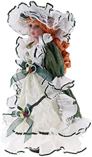 MagiDeal 40cm Excellent Workmanship Doll DIY Accessory Vintage Porcelain Lady Dolls with Display Stand