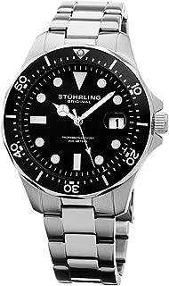 ساعة ستاهرلنغ اورجينال ريغاتا 824 للرجال مينا اسود بسوار ستانلس ستيل - 824.01