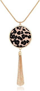 Long Necklaces for Women Boho Bohemia Tassel Disk Circle Pendant Necklaces Statement Leopard Handmade Y Necklace