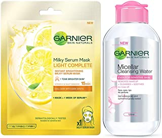 Garnier Skin Naturals, Light Complete, Face Serum Sheet Mask (Yellow), 30G And Garnier Skin Naturals, Micellar Cleansing W...