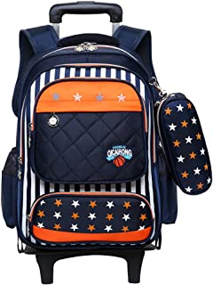 Boys Girls Rolling School Backpacks - Kids Trolley Schoolbag Waterproof Primary Child Bag Outdoor Travelling Nylon Kids Removable Pull Rod Luggage