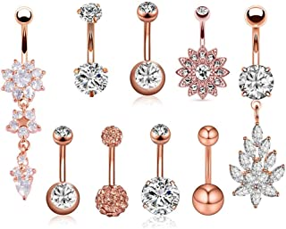 JDXN 6-8PCS 14G Stainless Steel Belly Button Rings CZ Pineapple Dangling Dangle Navel Ring Body Piercing