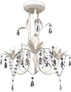 vidaXL Lámpara de Techo Colgante Araña de Cristal Elegante Blanco