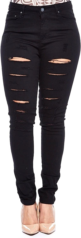 Jack David/GAZOZ /926 Womens Plus Size Distressed Knee Hole Ripped Stretch Jeans Skinny Twill Pants