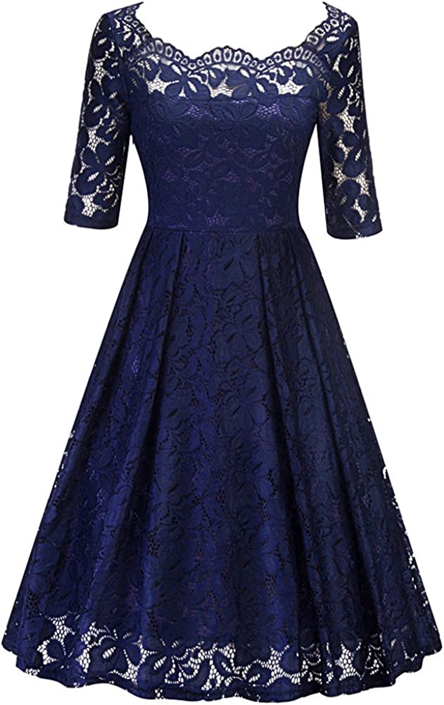 BeneGreat Women's Vintage Floral Lace Half Sleeve Boat Neck Cocktail Party Swing Dress