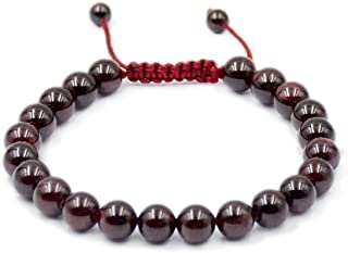 AD Beads Natural 8mm Gemstone Bracelets Healing Power Crystal Macrame Adjustable 7-9 Inch (8 Variety) (Red Garnet)