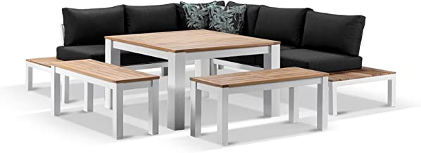 Nova Outdoor Aluminium Lounge and Dining Setting - White with Denim Grey, White with Denim Grey - Outdoor Aluminium Dining...