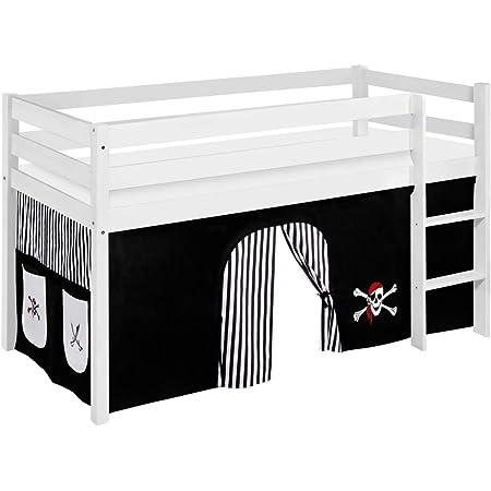 Lilokids Lit Mezzanine JELLE Pirat-Noir-Rayures -lit d'enfant Blanc - avec Rideau - lit 90x190 cm