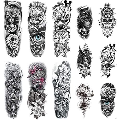 Leoars Halloween Full Sleeve Temporary Tattoos Skull Eye Theme, Waterproof Skull Arm Tattoos Temporary and Extra Large Full Tattoo Sleeves for Men Women Halloween Makeup,12-Sheet