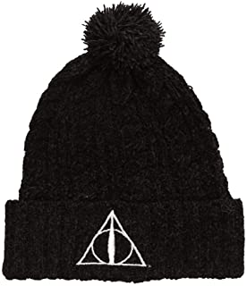 Bioworld Harry Potter Metallic Deathly Hallows Symbol Slouch Adult Beanie with Pom