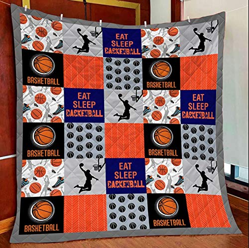 Eat Sleep Baseketball Quilt Blanket Outdoor Picnic Beach Blanket Twin Throw Queen King Size Bed Quilts Best Decorative for Bed, Couch, Sofa, Chair, Swing, Daybed, Home Decor