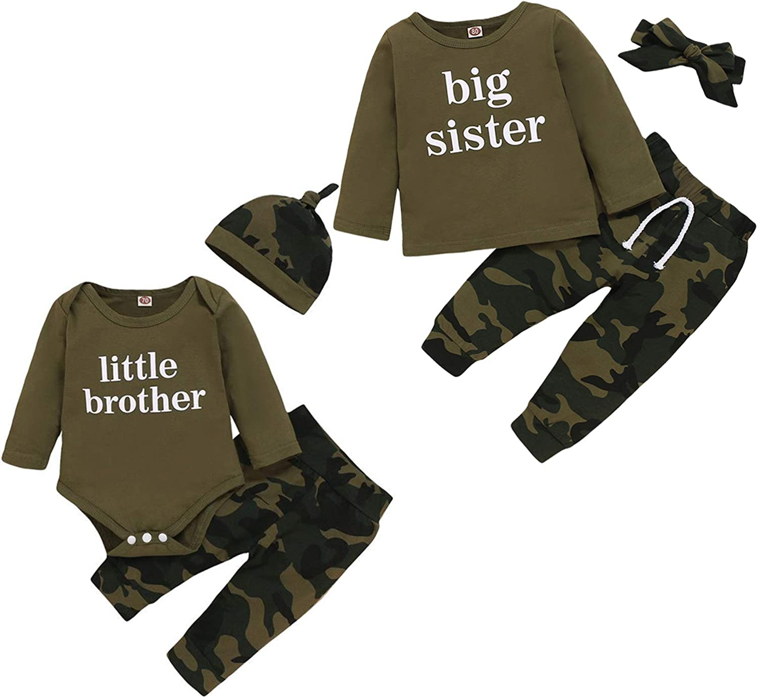 Baby Brother Sister Matching Outfits Boy Girl Long Sleeve Romper Shirt+Camouflage Pants+Hat Headband 3Pcs Clothes Set