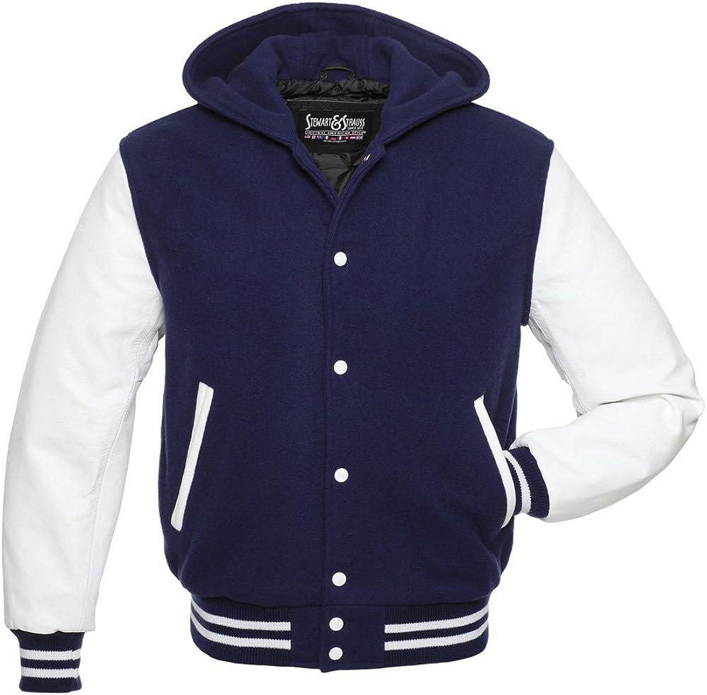 Stewart & Strauss Original Hoodie Varsity Letterman Jackes (10 Team Colors) Wool & Leather XXS to 6XL,Original