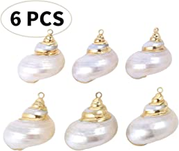 6 PCS Natural White Sprial Seashell Pendant Conch Shells Charms with Plated Golden Loop & Bail for Jewelry Making
