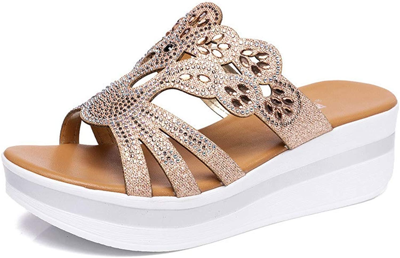 Zarbrina Women Flip Flops Bohemian Style Rhinestone Slippers Summer Wedges Platform Slides Elegant gold Slippers Ladies shoes