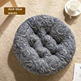 "Cheoalfa Cheeseland19.7 Round Pillow Floor Pillow Japanese Futon Chair Pad Tatami Floor Cushion Yellow Cushion for Living Room Balcony Outdoor Children's Play Area (Dark Blue Waves, XL-21.7"")"