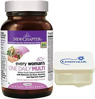 New Chapter Every Woman's One Daily 40+, Women's Multivitamin Fermented with Probiotics + Vitamin D3 + B Vitamins - 72 ct Bundle with a Lumintrail Pill Case