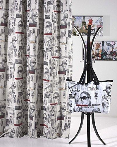 Tissu rideau à passants/Jacquard Rideau à haute qualité au style vintage – de Brand Seller – Rideau décoratif – 135 x 245 cm, New York/ Paris, 135 x 245 cm