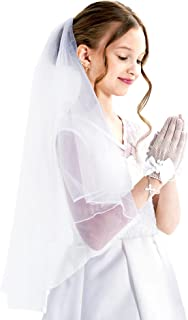 First Communion Veils for Girls Holy Communion White Kids Veils Wedding Flower Girl Veil for Wedding Vaile with Comb