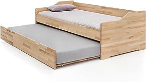 Massivholz-Gästebett aus Kernbuche, ausziehbares Doppel-Bett, als Jugend- & Kinderbett verwendbar, Funktionsbett aus Holz, Bett 90 x 200 cm
