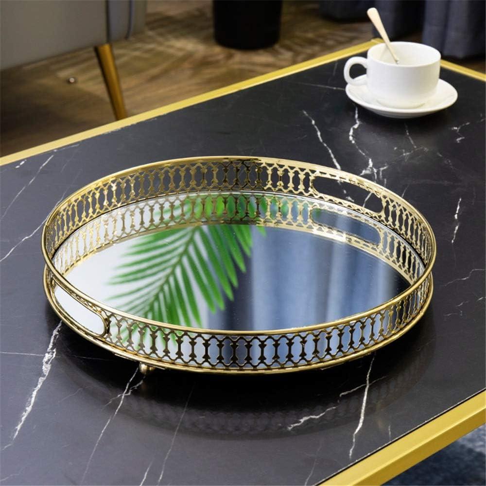 joyas Bandeja para servir plato 2 tama/ños ovalados platos joyero toallero cosm/éticos color dorado fruta platos bandeja para buf/é decoraci/ón Minzhenamz t/é