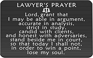 BAUNA Lawyer Gifts Lawyer's Prayer Engraved Wallet Inserts Scale of Justice Law School Gift Thomas Jefferson Quote Inspired