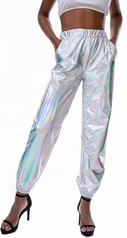 Womens Metallic Shinny Pants, Casual Holographic Jogger Sweatpants Punk Hip Hop Trousers Streetwear