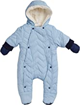 Urban Republic Newborn Baby Boys Quilted Puffer Pram Winter Snowsuit - Fully Sherpa Fur Lined with Hood and Mittens