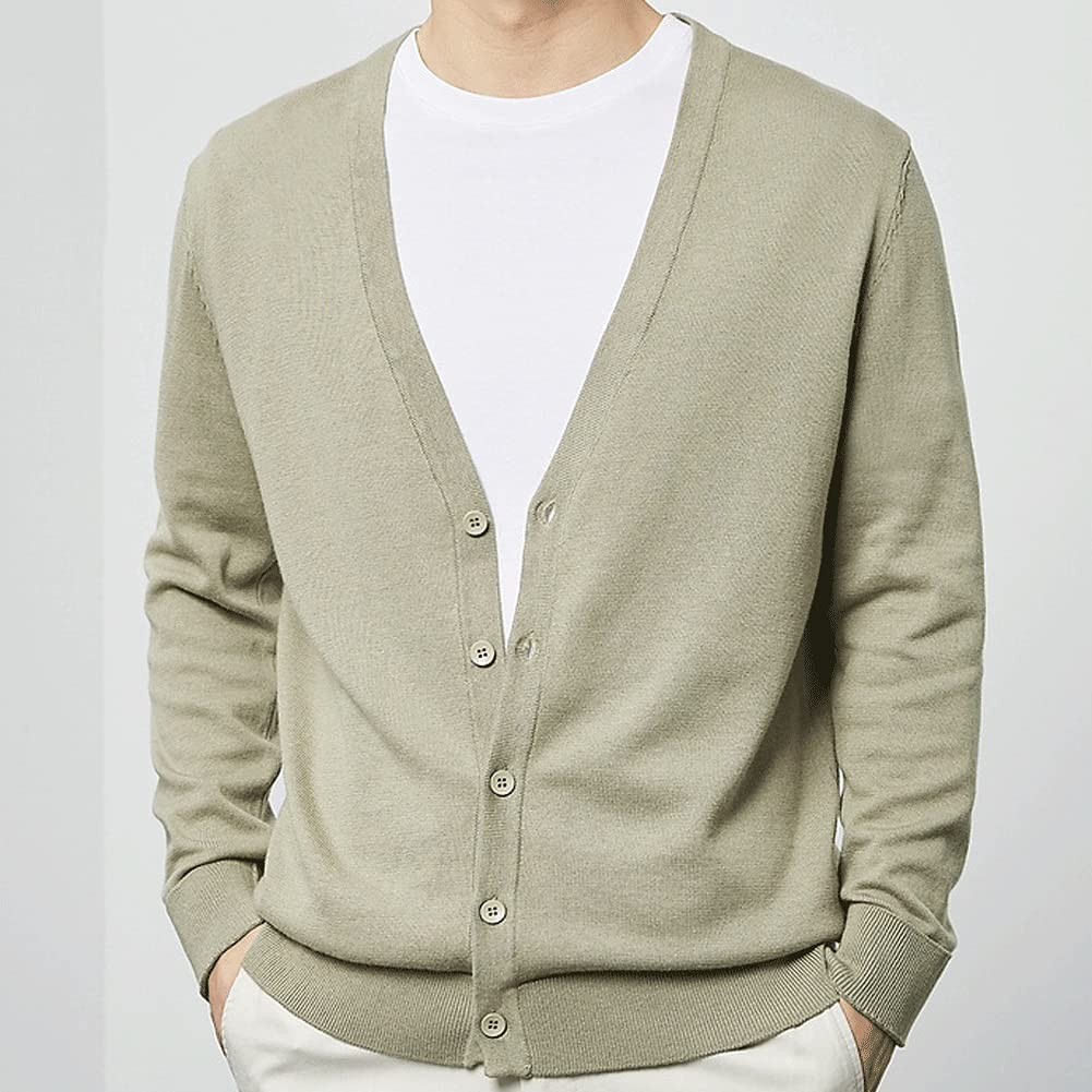 UXZDX Cardigan Male Autumn Solid Color Cardigan Knitted Cardigan Cotton Casual Buttoned Cardigan (Color : Multi-Colored, Size : L Code)