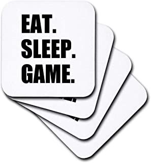 3dRose cst_180406_1 Eat Sleep Game-Fun Gifts for Gamers-Black Text-Video Pro-Gamer-Soft Coasters, Set of 4