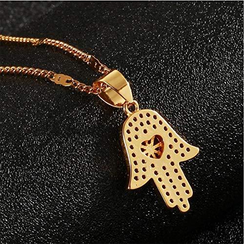 NCDFH Collar de Hamsa de Color Dorado, Collar con Colgante de Mano de la Suerte de la Mano de Fátima, joyería de Cadena de Moda
