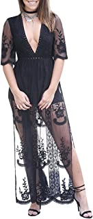 Women's Sexy Short Sleeve Embroidered Lace Jumpsuit Romper Long Dress