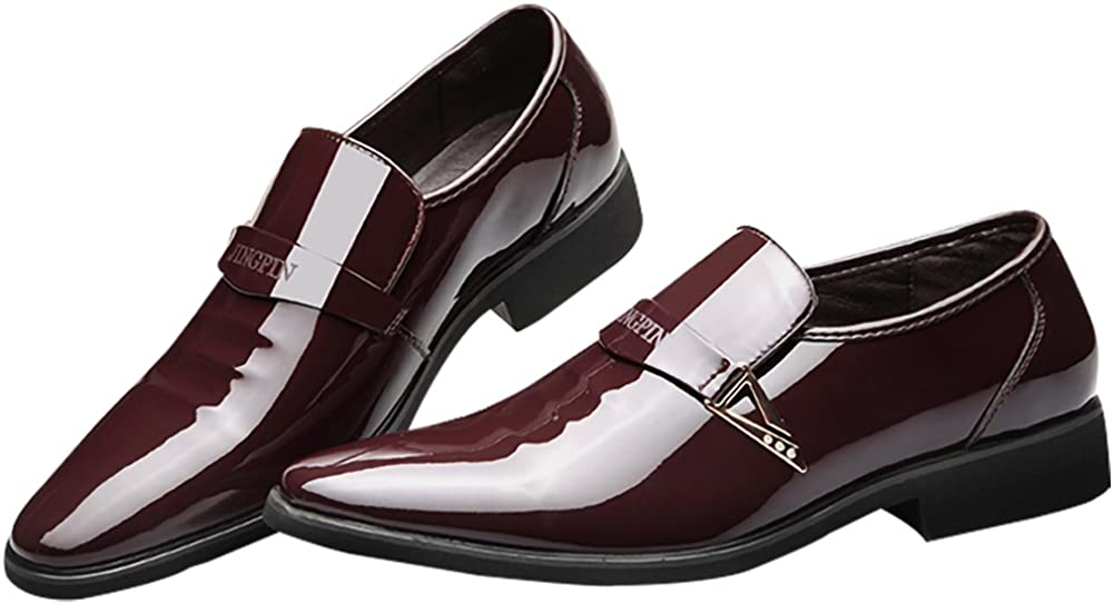 Fashion Synthetic Leather Business Oxford Pointed Toe Rubber Sole Slip on Shoe